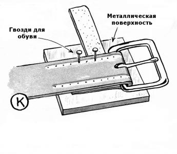 Как закрепить пряжку на ремне. Подготовка.